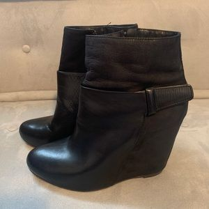 Vince Leather Wedge Ankle Bootie in Black